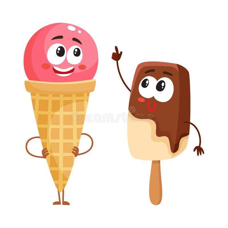 两个滑稽的冰淇凌字符-草莓锥体和巧克力冰棍儿 库存例证