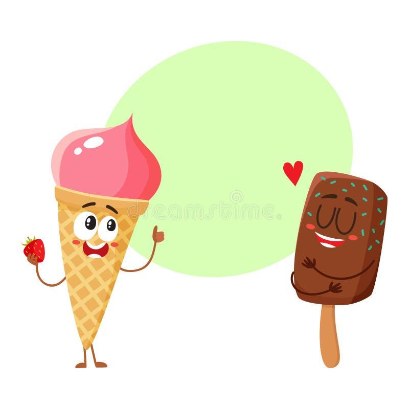 两个滑稽的冰淇凌字符-草莓锥体和巧克力冰棍儿 皇族释放例证