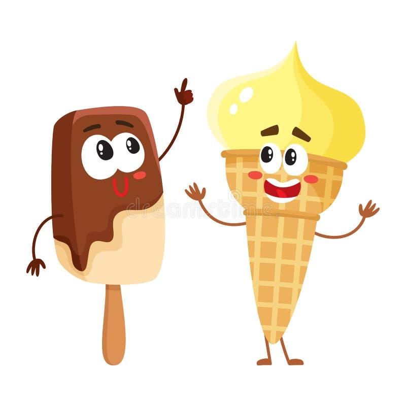 两个滑稽的冰淇凌字符-香草锥体和巧克力冰棍儿 皇族释放例证