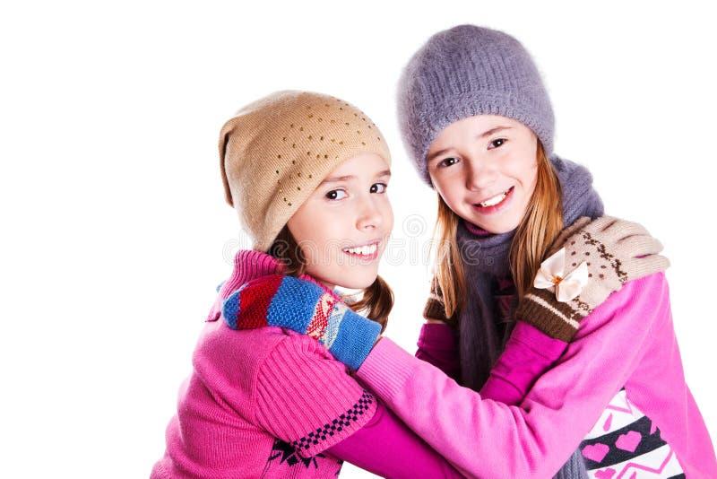 两个年轻美丽的女孩画象  库存图片