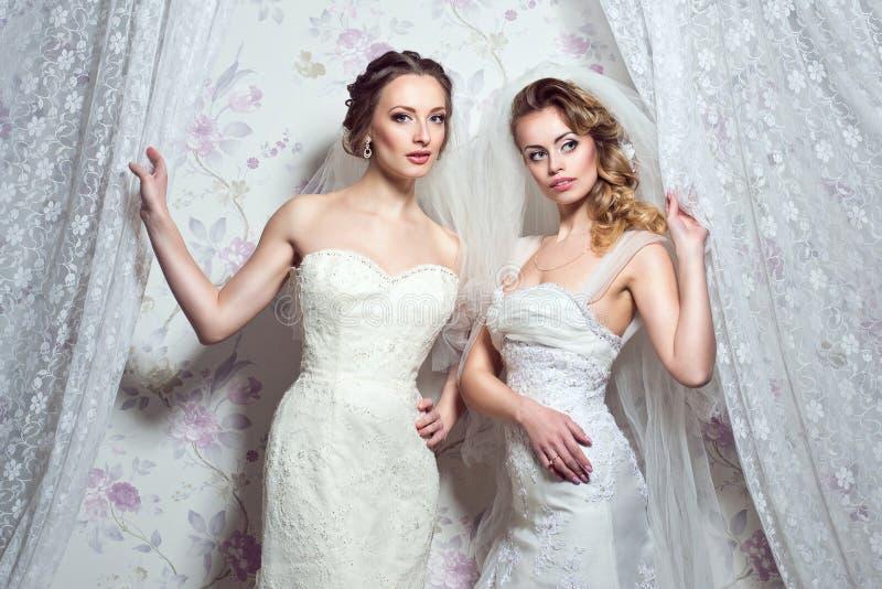 两个年轻美丽的欧洲新娘 库存照片