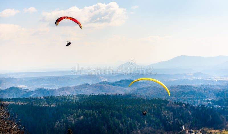 两个滑翔伞在谷飞行 库存图片