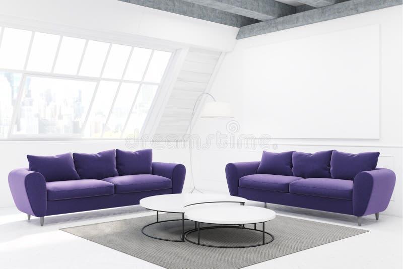 两个紫色沙发和桌,侧视图 库存例证