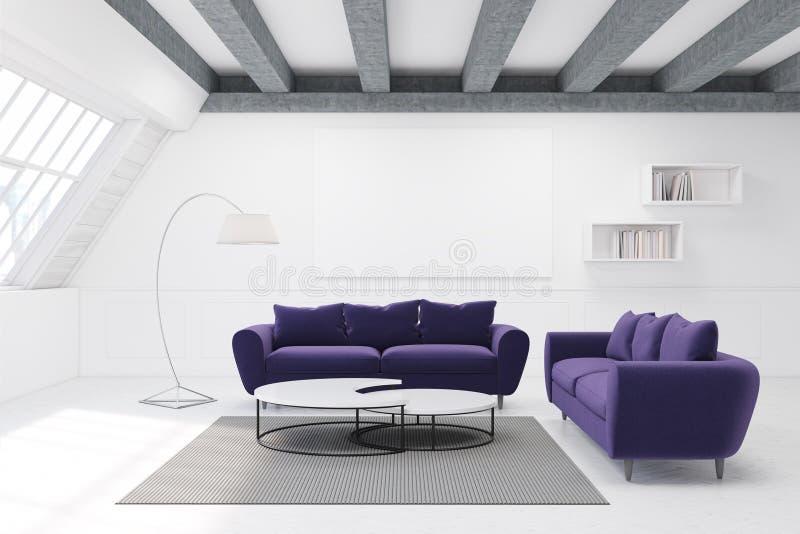 两个紫色沙发和桌 库存例证