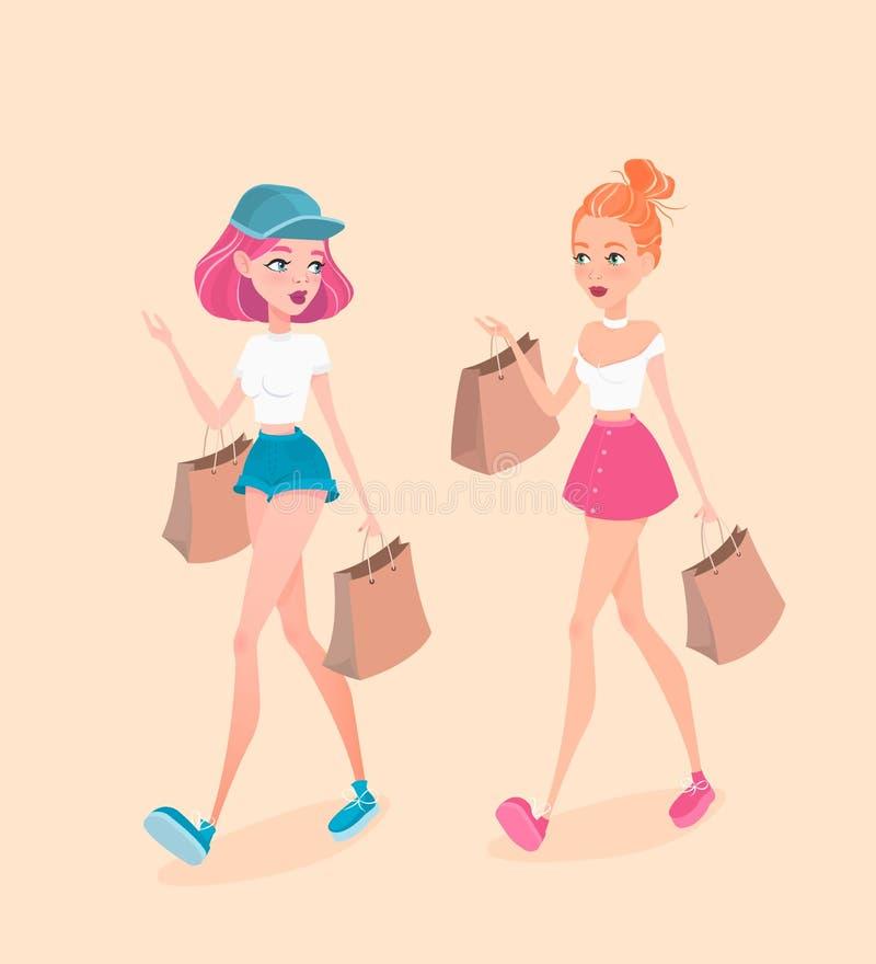 两个年轻行家女孩沿着走街道,有购物袋的和谈话互相 也corel凹道例证向量 皇族释放例证