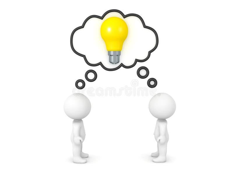 两个3D字符分享想法 向量例证