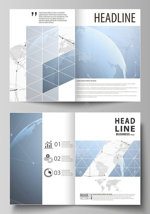 两个A4格式现代盖子大模型编辑可能的布局的传染媒介例证设计小册子的模板 皇族释放例证