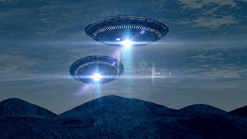 两个UFOS 库存例证