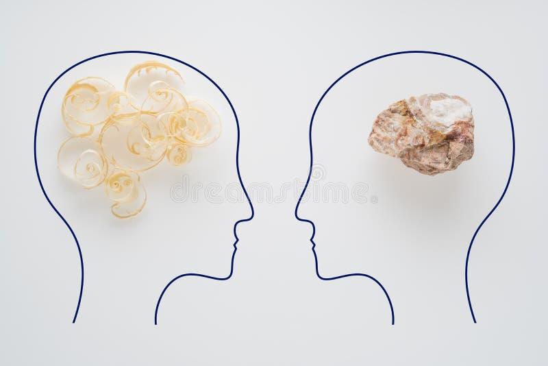 两人头有锯木屑脑子形状和石脑子形状的 有另外认为的两个人 合理和不合理 免版税图库摄影