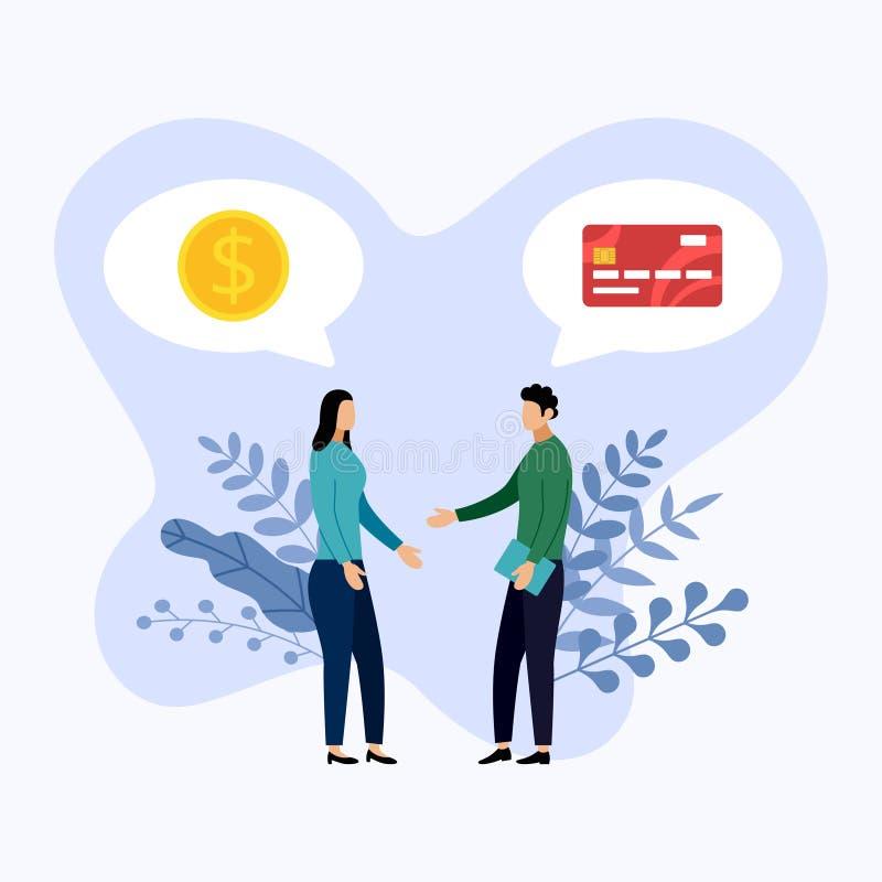 两人谈论借方或信用卡支付 向量例证