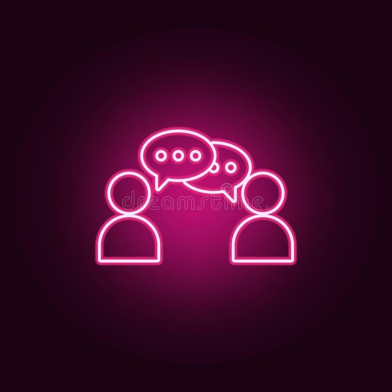 两人象之间的通信 交谈和友谊的元素在霓虹样式象 网站的简单的象,网 库存例证