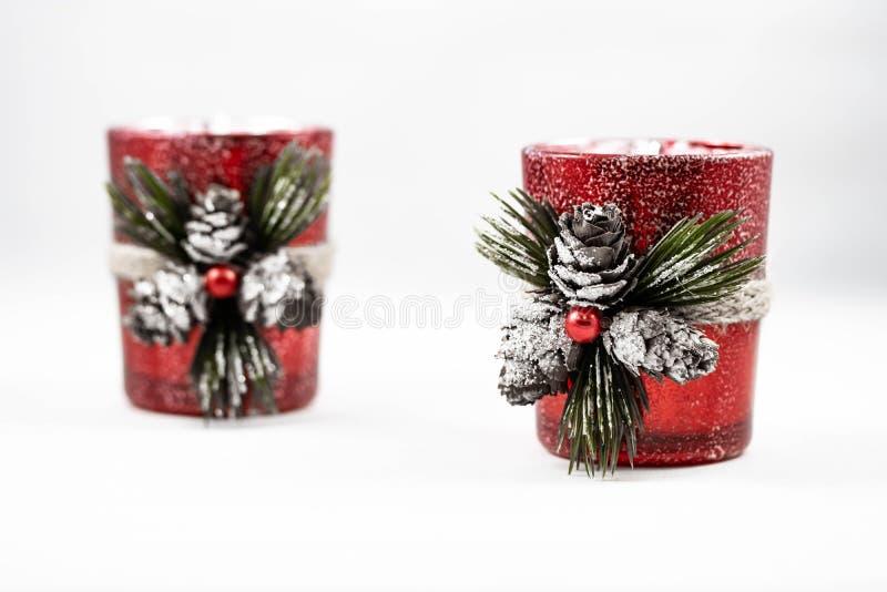 两件圣诞节蜡烛装饰品的图象 图库摄影