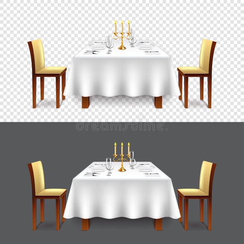 两传染媒介的豪华餐馆桌 皇族释放例证