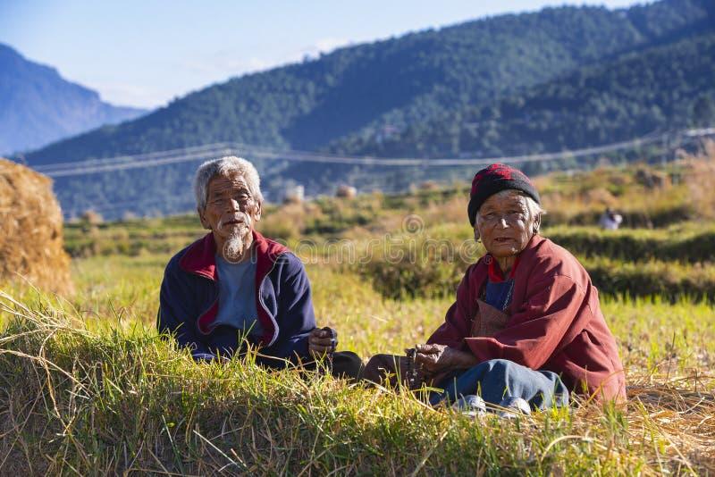 两位农夫、丈夫和妻子有休息在他们的米领域,不丹 免版税库存照片