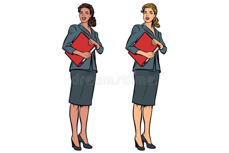 两位女性会计非裔美国人和白种人 库存例证