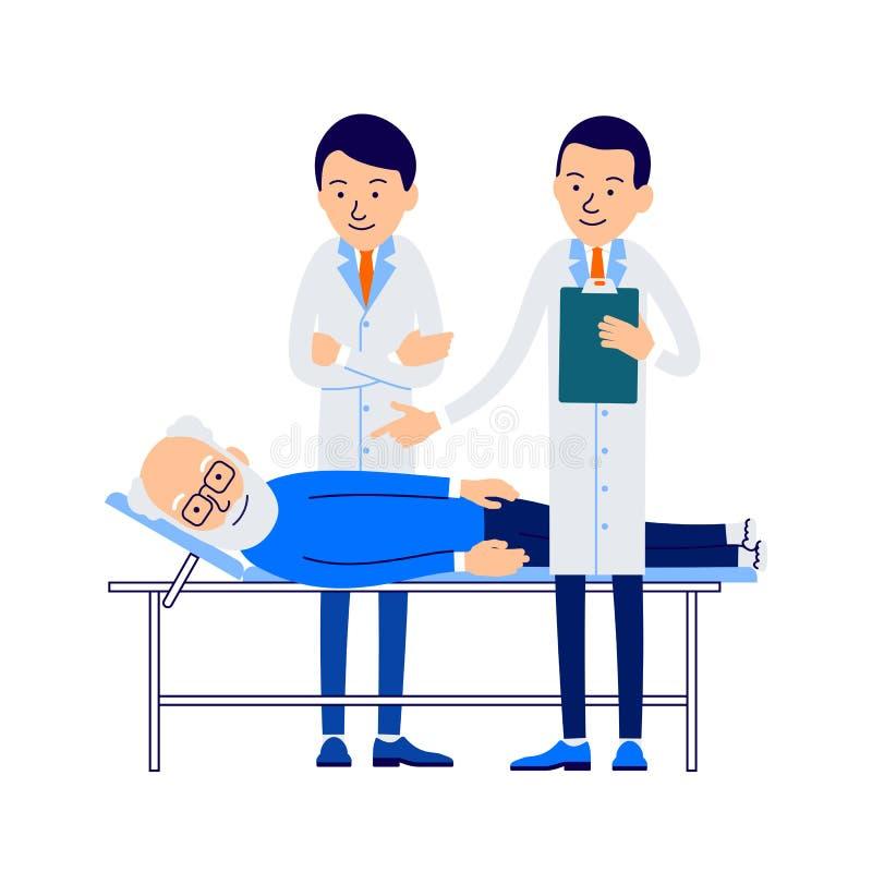 两位年轻医生在一个年长人的考试中站立 向量例证