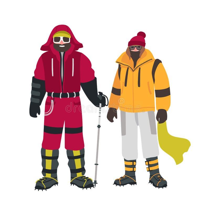 两位微笑的登山人或登山家用特别设备,在白色背景隔绝的温暖的成套装备 男和女性 库存例证