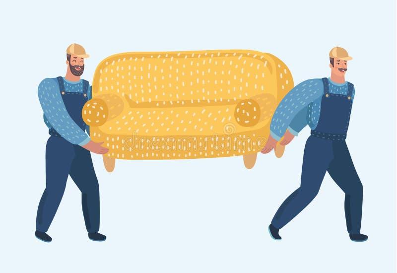 两位搬运工运载沙发 库存例证