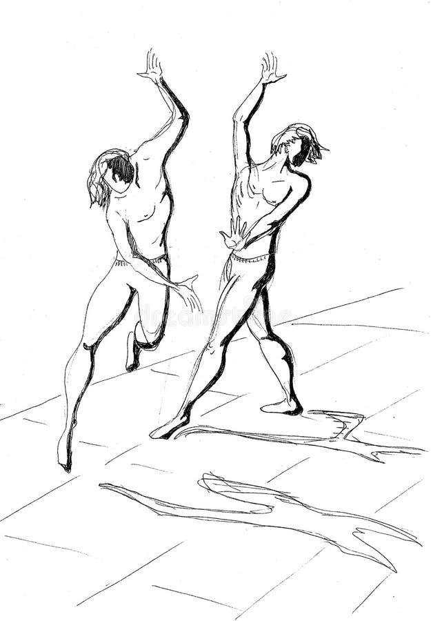 两位舞蹈家黑笔图画  库存例证