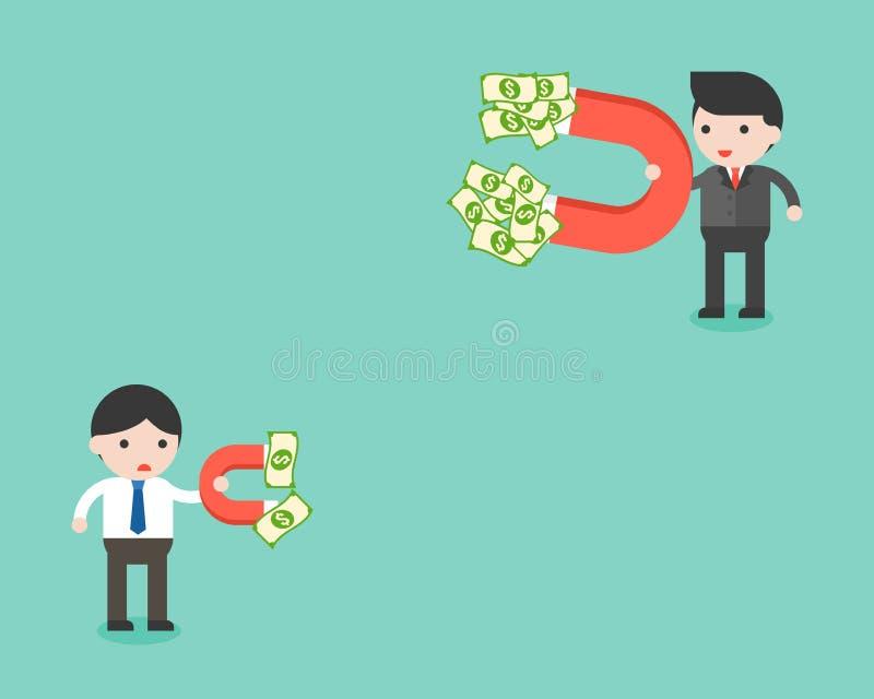 两使用磁铁的商人发现金钱的,有differenc 库存例证