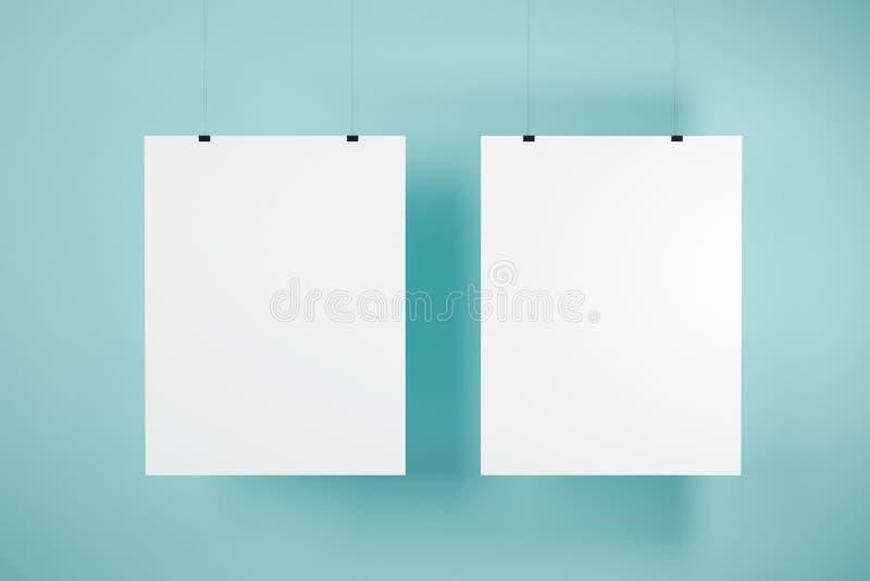两假装在蓝色墙壁上的海报 向量例证