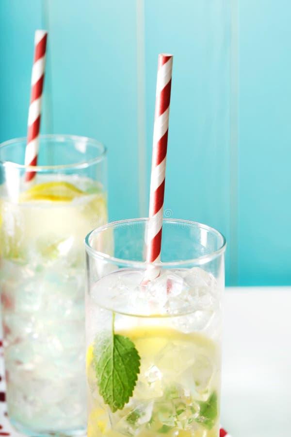 两冰了与大红色镶边秸杆的柠檬水 库存照片