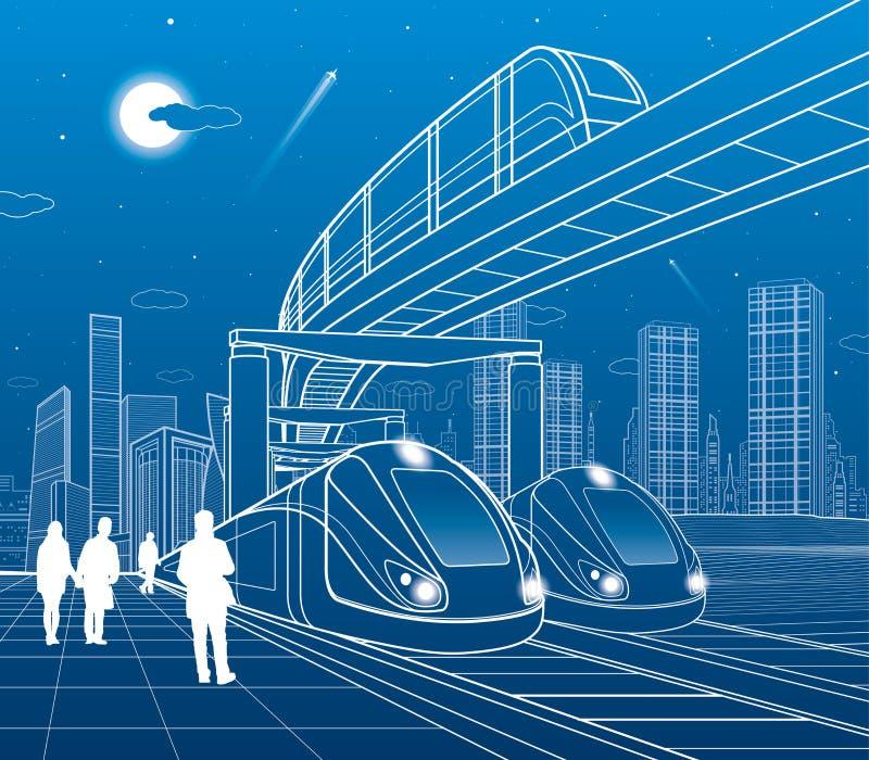 两列火车旅行由铁路 单轨铁路车移动跨接 现代夜镇 都市的场面 走在街道的人们 飞机飞行 空白 向量例证