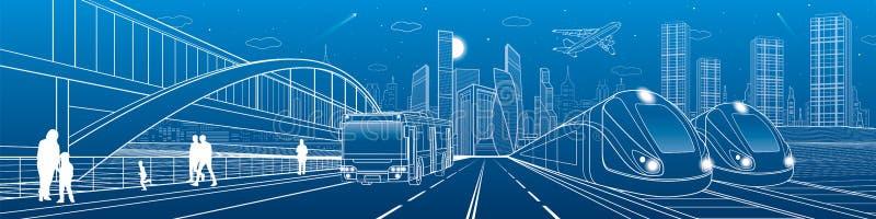两列火车旅行由铁路 在城市高速公路的公共汽车乘驾 现代夜镇 都市的场面 走在街道的人们 在蓝色的空白线路 向量例证