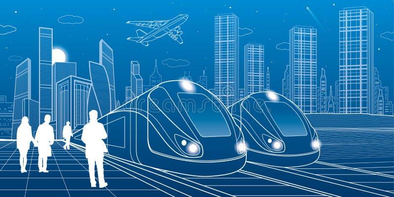 两列火车旅行由铁路 现代夜镇 都市的场面 走在街道的人们 飞机飞行 在蓝色背景的空白线路 皇族释放例证