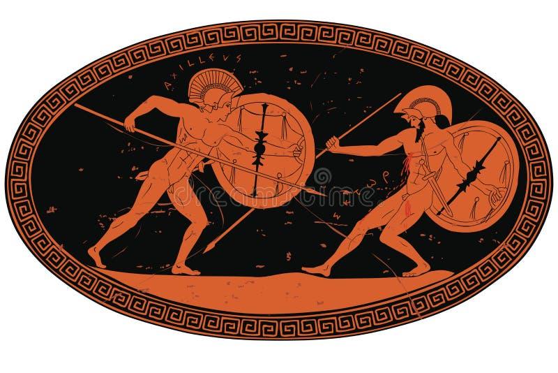 两古希腊战士 向量例证