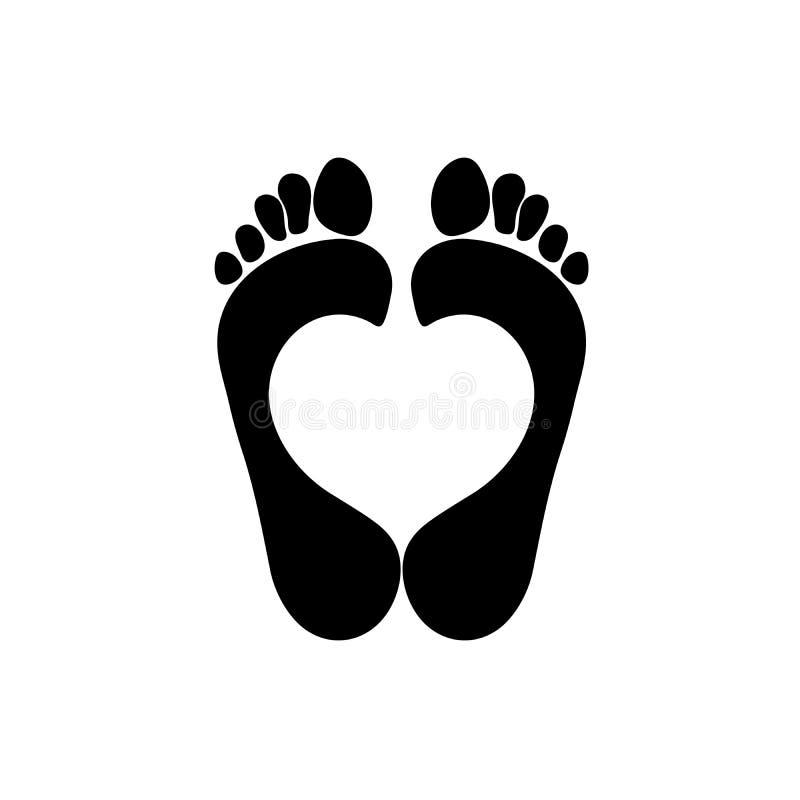两只人脚版本记录与里面心脏标志的 在白色背景隔绝的传染媒介对象 向量例证