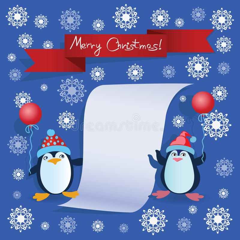 两只企鹅和题字圣诞快乐! 向量例证