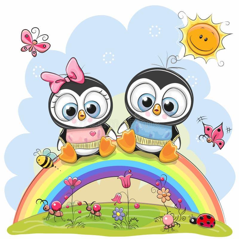 两只企鹅坐彩虹 皇族释放例证