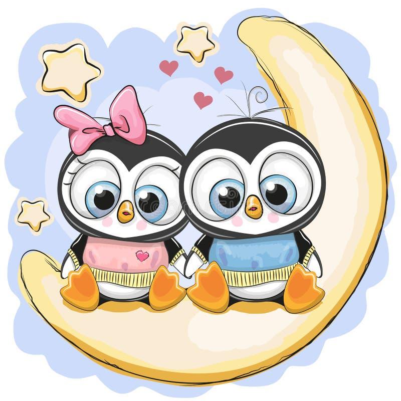 两只企鹅坐月亮 库存例证