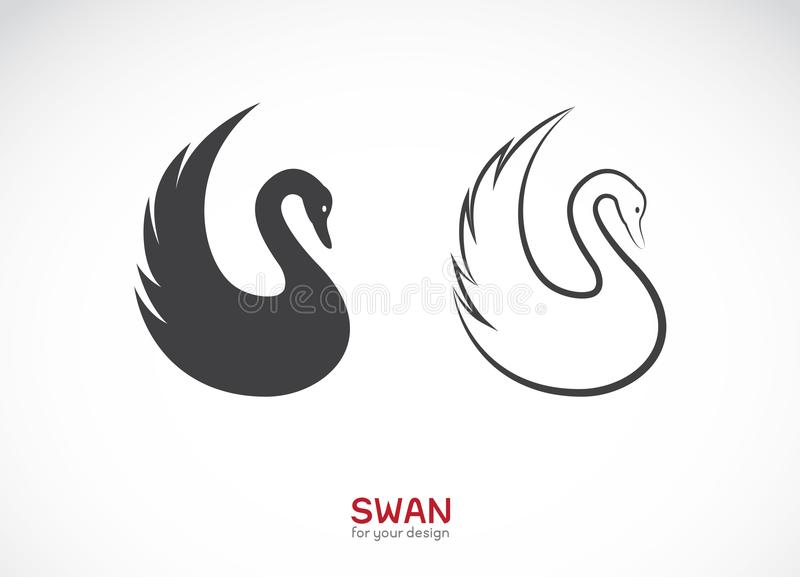 两只天鹅设计传染媒介在白色背景的 徽标 库存例证
