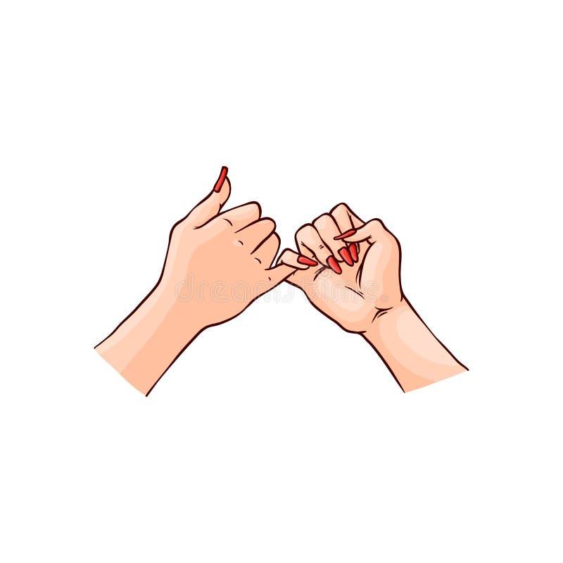 两只女性手的传染媒介例证互相钩在剪影样式的小指 库存例证
