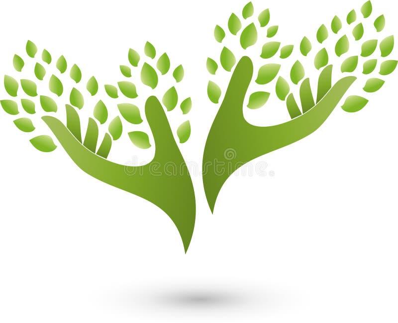 两只手作为树、植物、自然疗者和健康商标 皇族释放例证