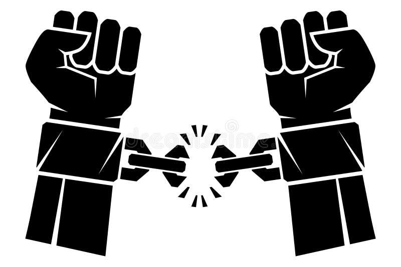 两只手被握紧入拳头撕毁的链子他们桎梏了自由的革命的标志 人的手和残破的c 向量例证