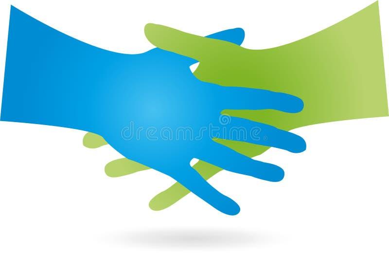 两只手,握手,事务,伙伴,商标 库存例证