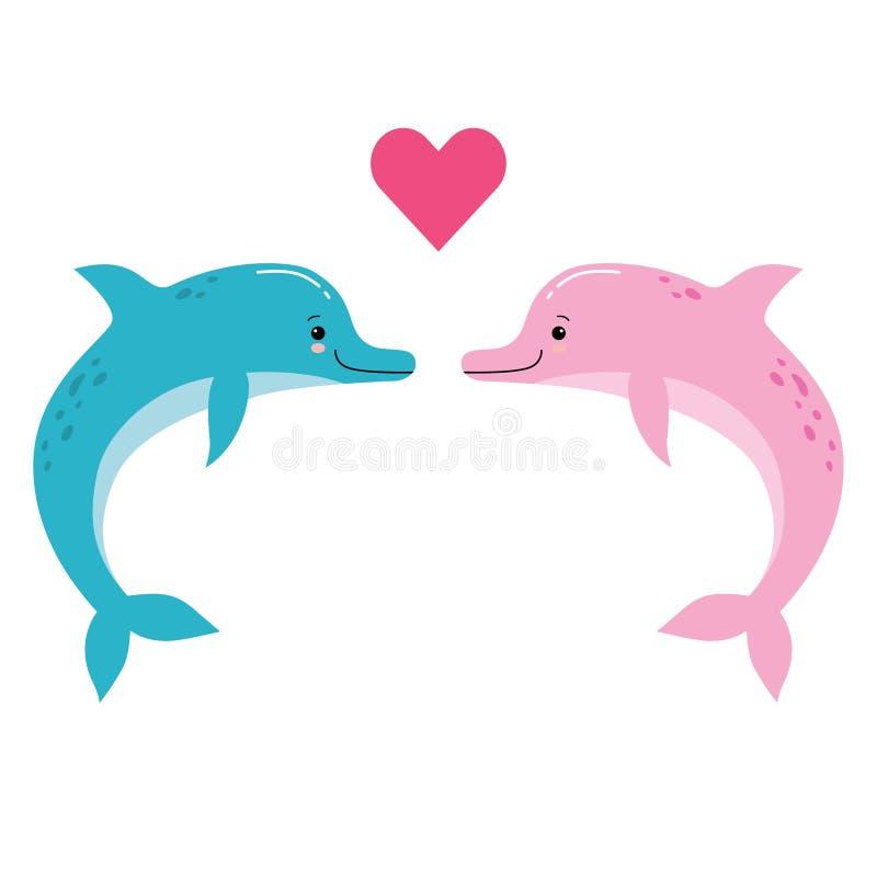 两只海豚的逗人喜爱的传染媒介例证是爱上在他们之间的一点红心 向量例证