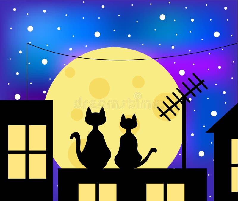 两只爱恋的猫坐在月光的屋顶 库存例证