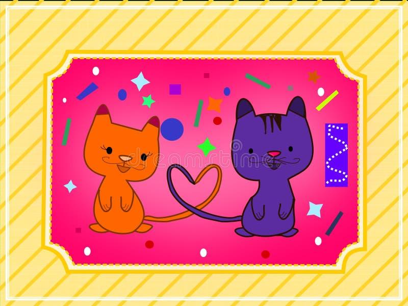两只猫一爱 免版税库存照片