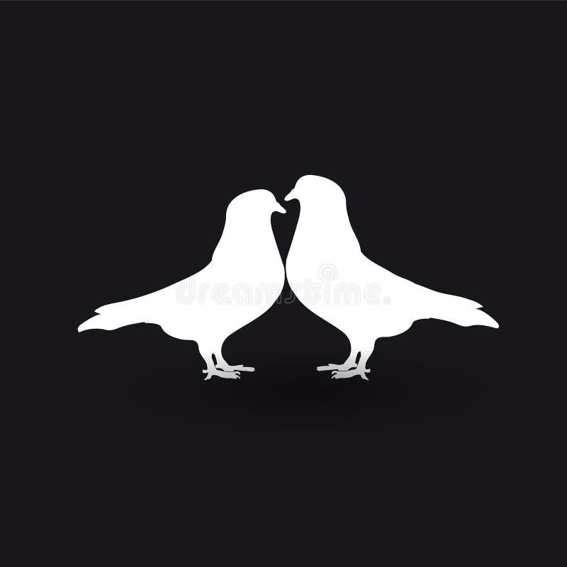 两只白色鸠剪影在黑背景的 向量例证