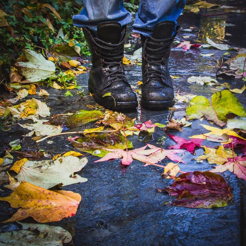 两只老黑湿皮靴在雨,11月中 库存图片
