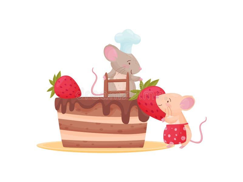两只被赋予人性的老鼠装饰轻松的事用草莓 r 库存例证