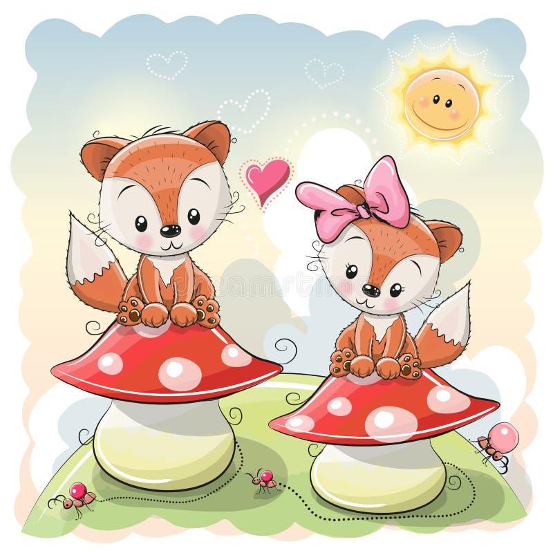 两只逗人喜爱的动画片狐狸 皇族释放例证