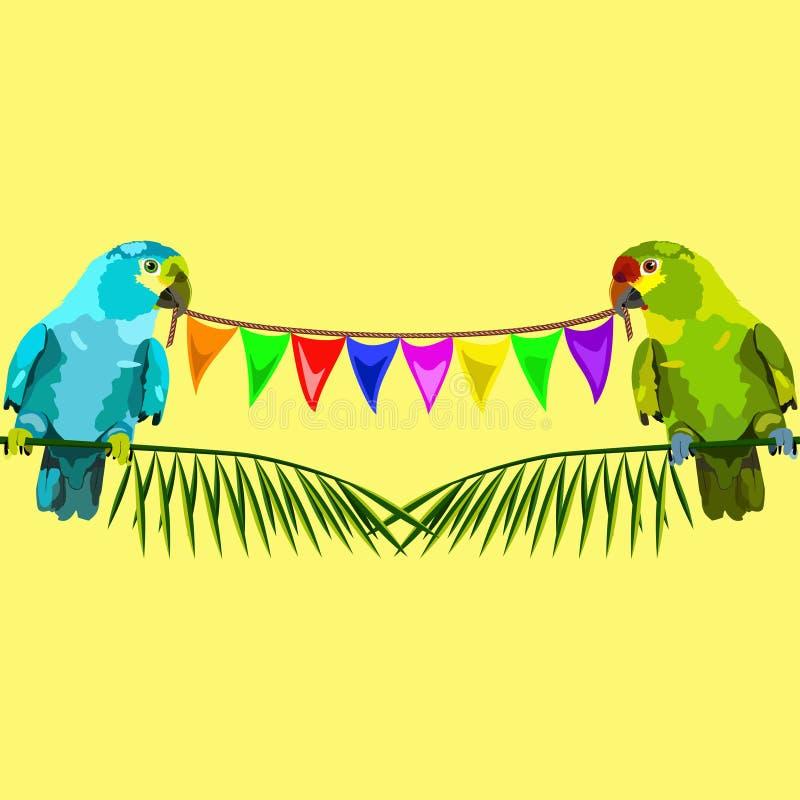 两只鹦鹉的无缝的样式与旗子的在黄色 向量例证