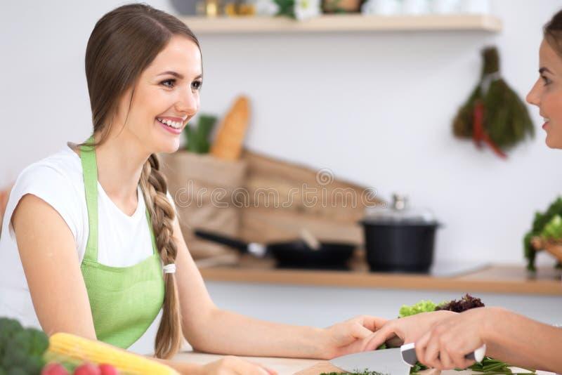 两名妇女在厨房里烹调新鲜的沙拉并且有乐趣谈话 朋友和厨师厨师概念 免版税图库摄影