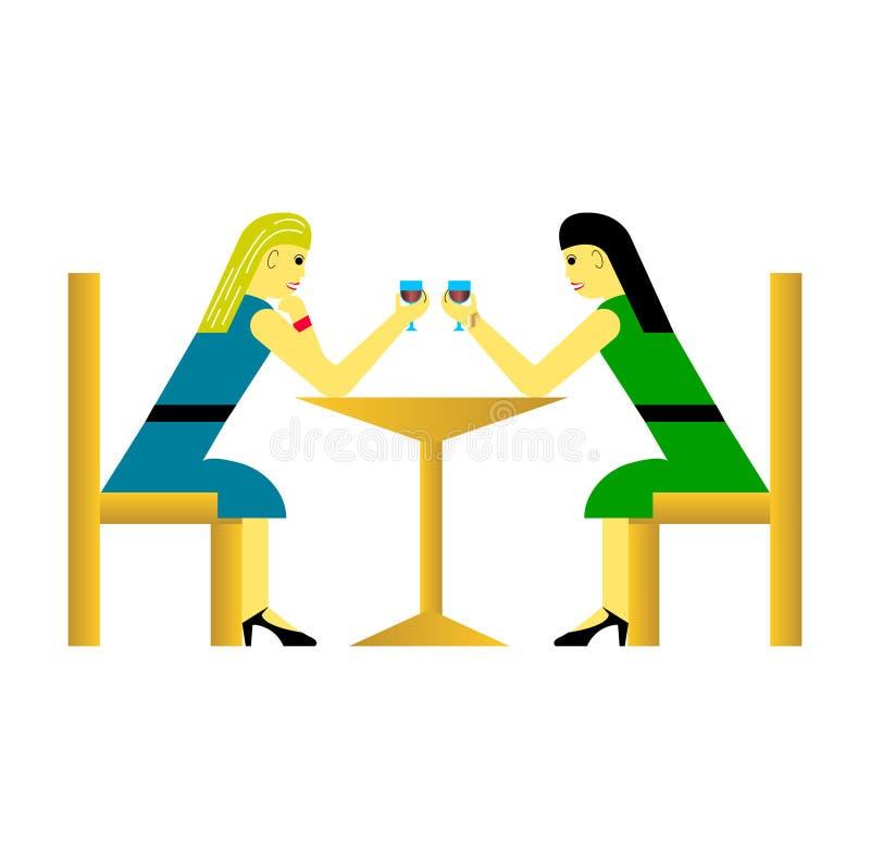 两名妇女的逗人喜爱的动画片传染媒介例证 库存例证