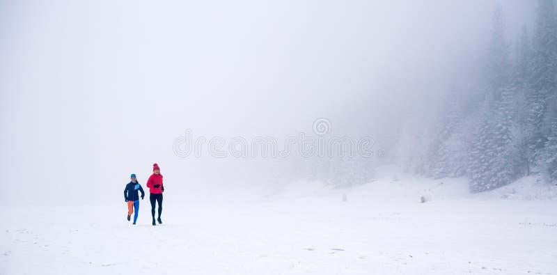 两名妇女落后在雪的赛跑在冬天山 图库摄影